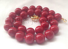 "K6136-18"" 14mm perfect round red-coral color south sea shell pearl necklace - GP"
