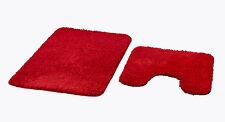 """2-teiliges Badematten Set,  """"Bahama""""  Mikrofaser, rot, meliert mit Ausschnitt"""