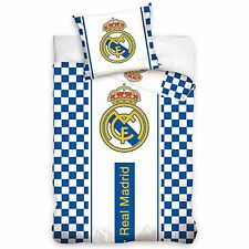 REAL MADRID CF WHITE CHECKED SINGLE COTTON DUVET COVER SET OFFICIAL KIDS BEDDING