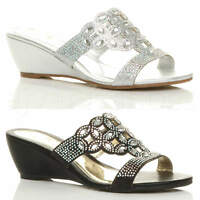WOMENS LADIES LOW MID WEDGE HEEL DIAMANTE CUT OUT EVENING SANDALS MULES SIZE