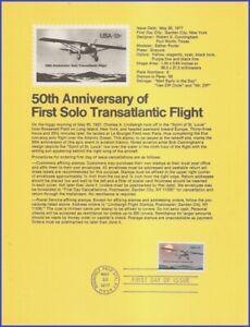 USA7 #1710 U/A SOUVENIR PAGE FDC   Lindbergh Flight