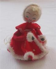 New ListingVtg Pretty Lady Red Dress Mrs Claus Dancing Ice Skating Christmas Ornament
