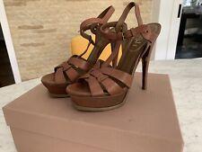 YSL Brown Tribute sandal 38
