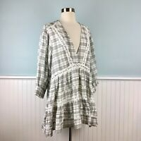 Size Large L Free People Puff Sleeve Prairie Peasant Tunic Top Blouse Shirt NWT