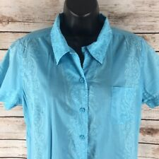 Life Is Good Blue Sheer Floral Blouse Women's Size Medium Chest Pocket