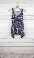 New Xhilaration Sleeveless Floral Printed H-Lo Tank Top Blue Combo Womens S-L