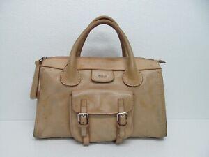 Vintage Chloe Edith Tan Leather Large Satchel Handbag