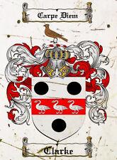 3 X Clarke Coat of Arms A4 10x8 Metal Sign Aluminium Heraldry Heraldic