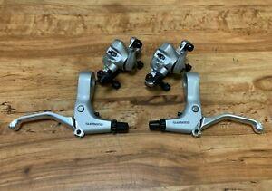 MTB Road Bike Brake Calipers Mechanical Disc Both sides push Brakes Levers Bell