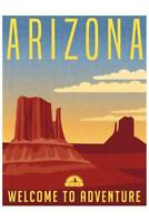 Arizona Welcome To Adventure Retro Travel Art Poster 24x36 inch