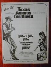 TEXAS ACROSS THE RIVER Movie Sheet Music DEAN MARTIN 1966 Joey Bishop A Delon