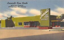 LEONARD'S FINE FOODS Albuquerque NM Route 66 Roadside Restaurant Postcard c1940s