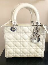 Authentic Christian Dior Lady Handbag Patent Leather - Medium Beige Color