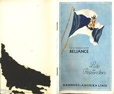 HAPAG Hamburg-Amerika-Linie Dampfer Reliance Liste der Reisenden 1929