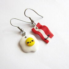 Emo Egg and Bacon Funny Miniature Food Earrings Colorful Gifts For Best Friends