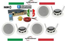 KIT AUDIO FILODIFFUSIONE BLUETOOTH+USB+RADIO FM+TELECOMANDO+ 5 CASSE DA INCASSO