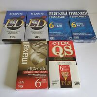 Lot of 6 NEW Blank VHS Tapes T-120, Sony, Tdk, Maxell, Menorex, Fuji