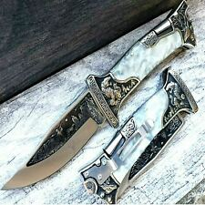 "9"" PEARL Handle Huntin Engraved Blade Lockback Folding Pocket Knife 3CR13 Steel"