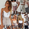 UK Womens High Waist Tie Belt Paper Bag Shorts Ladies Summer Pants Size 6 - 14