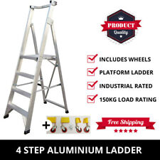 4 Step Aluminium Platform Ladder + Wheels 1.2M-2.1M Industrial Rated 150kg