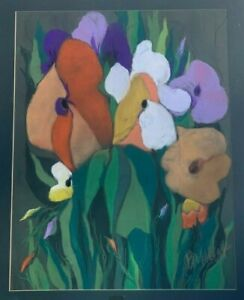 BAOS KENT ORIGINAL ABSTRACT PAINTING COLORFUL PASTEL FLOWERS EAST MEADOW NY LI