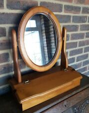 Pine Dressing Table Swivel Mirror With Storage Freestanding