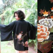 Vintage Hand Painted Japanese Kimono short Jacket Dress Coat Black Silk Lining