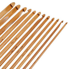 12pcs 15CM Bamboo Handle Crochet Hook Knit Weave Yarn Craft Knitting Needle Set