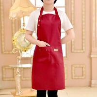 Adjustable Men Women Solid Cooking Kitchen Restaurant Bib Apron Dress w/ Pocket