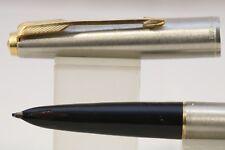 Parker 61 MKIII Flighter DeLuxe Medium Fountain Pen, Brushed Steel & Gold Trim