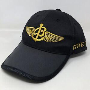 Breitling Swiss Chronographs Snapback Hat Cap Black Gold