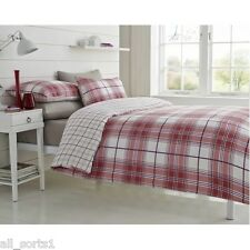 KING SIZE DUVET COVER SET WHITE TARTAN PRINT SQUARES CHECKED LINES RED RYDE