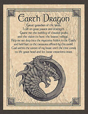 Elemental EARTH DRAGON  Invocation Page Poster Guidandce Wicca Pagan 8 1/2 x 11