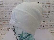 ADIDAS Turn-Up Beanie White Long Woolie Hat Oversize Soft Acrylic Skull Cap BNWT