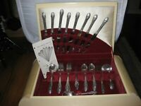 Set 60 Pcs GORHAM ROSEMONT SILVERPLATE Service for 8 + Serving Pcs + Box 1930's