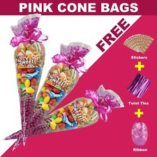 50 Pink Cellophane Cone Bags Twist Ties Large size Party Sweet Cello Candy