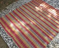 Vintage Anatolian Rustic Kilim Rug 5x6ft Authentic Handwoven Wool Large Area Rug