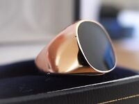 Men Rose Gold Plated Black Onyx Ring Signet Band Classic Size P R 1/2 S T V W Z