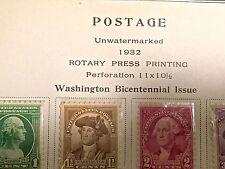 Us Postage Washington Bicentennial Stamps Scott # 704 To 715 Lot