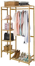 Coogou Bamboo Wood Clothing Garment Rack With Shelves Clothes Hanging Rack Stand