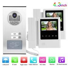 4.3'' LCD Video Türsprechanlage Sprechanlage Gegensprechanlage 2Familienhaus ID