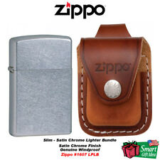Zippo Slim, Street Chrome Lighter and Brown Leather Loop Pouch #1607_LPLB