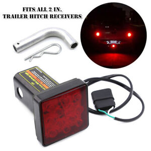 "2"" Trailer Hitch Mount Tail Light 12LED Tow Bar Lamp Smoked Lens Turck with Pin"