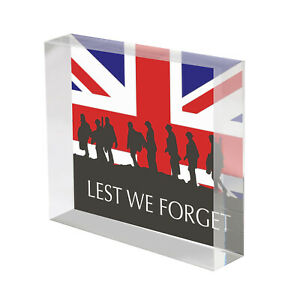 Lest We Forget Union Jack Flag and Soldiers Gift, Acrylic Block 100mm Decoration