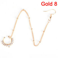Nose to Ear Chain Ring & Pierced Earrings Jewelry Chain Link Nose Clip Ring   zh