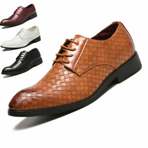 Men's Business Dress Shoes Flat Oxford Shoes With Plaid New Style Tie