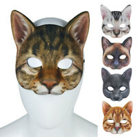 DI- Lifelike Cat Half Face Cover Masquerade Halloween Cosplay Party Prop Utility