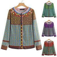 ZANZEA Femme Manteau Vintage Impression Couture Manche Longue Casual Veste Plus