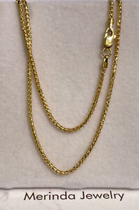 18k Solid Yellow Gold Franco Chain Necklace, 20 Inches. 5.03 Grams