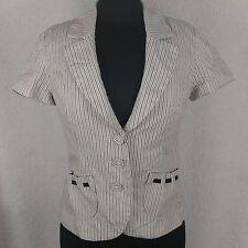 White House Black Market Pinstripe Blazer - Size 6 - Black & White Short Sleeves